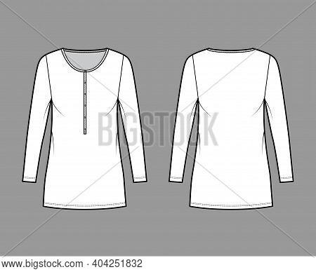 Shirt Dress Mini Technical Fashion Illustration With Henley Neck, Long Sleeves, Oversized, Pencil Fu