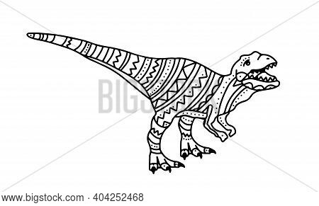 Vector Illustration With Dinosaur Raptor For Kids. Doodle Style Coloring Book With Small Patterns. C