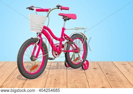 Kids Bicycle With Training Wheels And Basket On The Wooden Planks, 3d Rendering