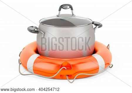 Repair And Service Of Stainless Steel Stock Pot, 3d Rendering Isolated On White Background