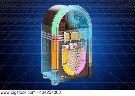 Visualization 3d Cad Model Of Jukebox, Blueprint. 3d Rendering