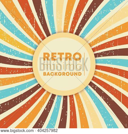Vintage Swirly Rays Background With Retro Grunge Texture. Vector Illustration