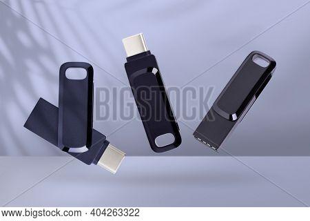 Dark USB flash drive mockup technology data storage device