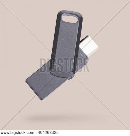 Black USB flash drive mockup technology data storage device