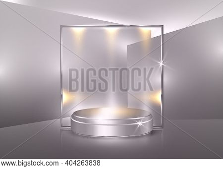 3d Platform Studio Minimal Scene With Silver Platform, Pearl Color Background Vector 3d Luxury Podiu