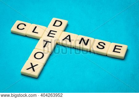 cleanse and detox crossword, detoxification, medical and well being concept