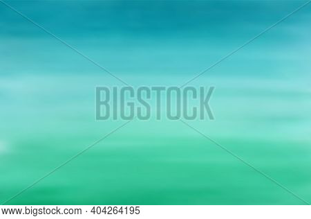 Horizontal Vector Gradient From Blue To Green Watercolor Background. Bright Aquamarine Forest And Wa