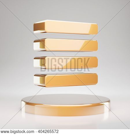 Text Align Justify Icon. Yellow Gold Text Align Justify Symbol On Golden Podium. 3d Rendered Social