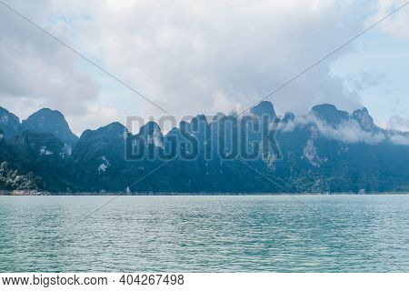 Beautiful Mountains Lake River Sky And Natural Attractions In Cheow Lan Lake, Ratchaprapha Dam, Khao