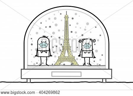 Hand Drawn Cartoon Man And Woman With Protection Masks, Contained In A Snow-dome, With The Eiffel To