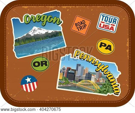 Oregon, Pennsylvania Travel Stickers With Scenic Attractions And Retro Text On Vintage Suitcase Back