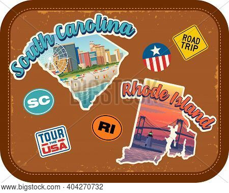 South Carolina, Rhode Island Travel Stickers With Scenic Attractions And Retro Text On Vintage Suitc