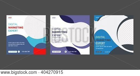 Digital Marketing Agency Social Media Web Banner Post Template Design. Editable Advertising Square S