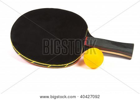 Ping Pong Black Racket With Yellow Ball