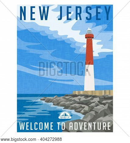 New Jersey Travel Poster Or Sticker. Vector Illustration Of Historic Lighthouse On The Atlantic Coas