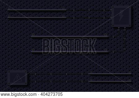 Empty Black Electric Wall, Technical Background. Realistic Vector Illustration. Perforated Black Met