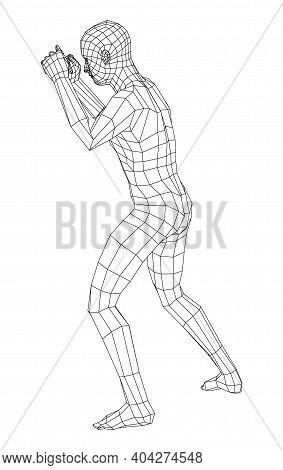 Wireframe Boxing Man. Vector 3d Rendering. Man In Boxing Pose