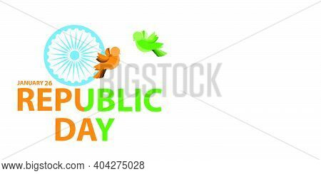 Indian Independence Day Concept Background With Ashoka Wheel And Birds.