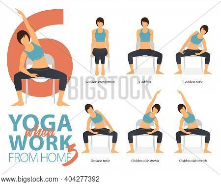 Infographic Of 6 Yoga Poses For Office Syndrome When Working At Home In Flat Design. Beauty Woman Is