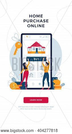 Buy A House Online Web Banner Template. Couple Buying New Home, Touching The Button On Smartphone Sc