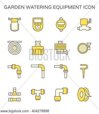 Garden Watering Equipment Icon I.e. Diaphragm Pump, Timer Switch, Solenoid, Hose Or Tube, Speedfit,