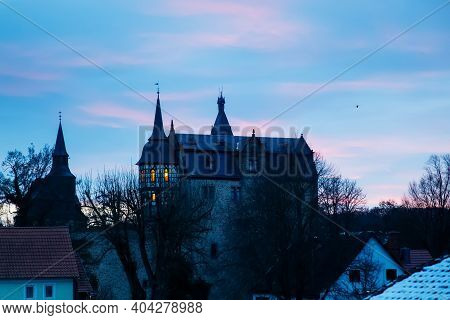 Beautiful Old Historic Castle Romrod In Hessen, Germany. View On Schloss Romrod At Early Morning, On