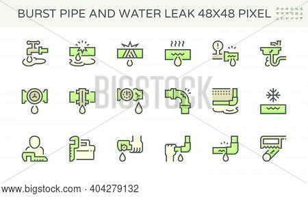 Burst Pipe And Water Leak Or Plumbing Problem And Repair Icon Such As Burst, Leaking, Noise And Froz