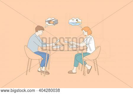 Reading News And Newspapers Concept. Young Positive Couple Woman And Man Sitting At Home And Reading