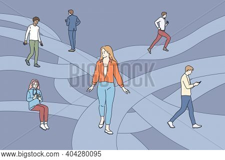 Searching For Life Path Concept. Young People Cartoon Characters Walking Through Different Life Rout