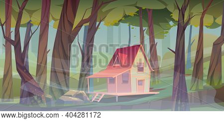 Wood House In Forest With Morning Fog. Forester Shack. Vector Cartoon Summer Landscape Of Wooden Vil