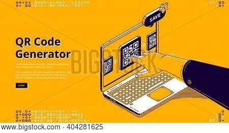 Qr Code Generator Isometric Landing Page, Hand Push On Screen Using Service For Creation Machine Rea