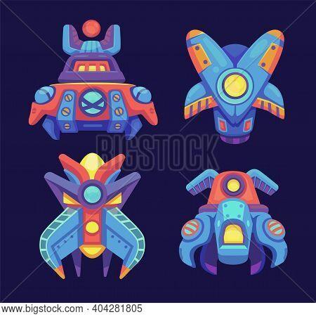 Alien Space Ships, Ufo Rockets, Fantasy Bizarre Shuttles, Computer Game Graphic Design Elements, Cos