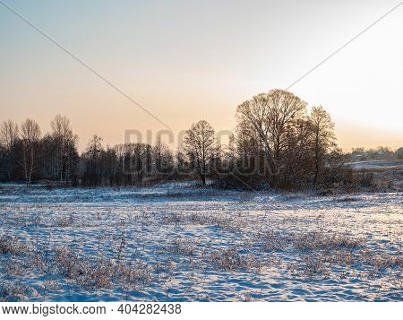 Sunbeams On The Background Of A Snowy Winter Landscape. Sun Rays. Cloudy Horizon. Winter Season. Sno