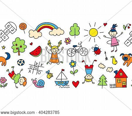 Happy Children In Summer Park. Funny Small Kids Play, Run And Jump. Color Background In Kid Doodle S