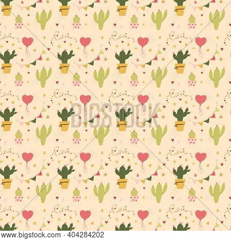 Valentines Day Seamless Pattern Cactus And Hearts Love. Greeting Card Or Invitation In Trendy Style.