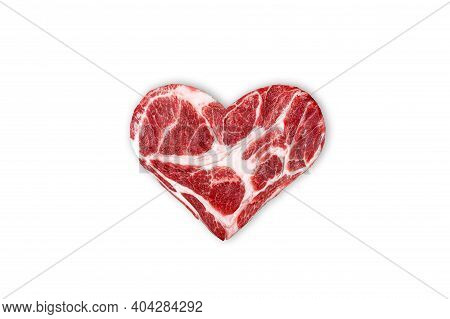 Fresh Raw Meat In The Shape Of Heart Isolated On A White Background