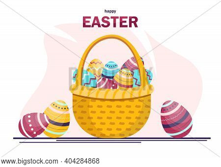 Easter basket full of colored eggs. Congratulatory easter background. Happy easter background, easter design. Happy Easter, easter bunny, easter