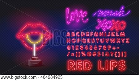 Red Neon Lips With Lollipop. Romantic Kiss, Kissing Couple Lip Bar. Vector Set Of Realistic Isolated