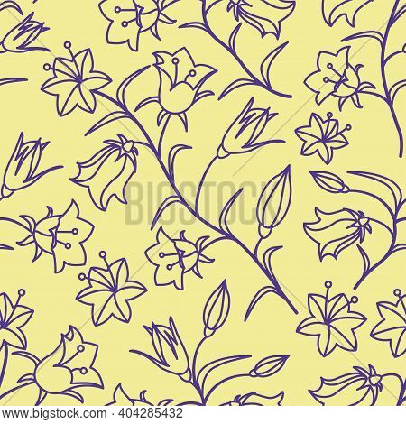 A Seamless Pattern With The Colors Of Bells. Dark Mauve Contour On A Yellow Background. Vector Illus