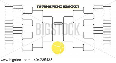 64 Team Tournament Bracket Championship Template Flat Style Design Vector Illustration Isolated On W