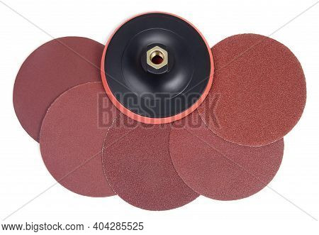 Set Of Round Sandpaper Discs With Different Grain Types And Plastic Bracket Handle With Velcro Tape