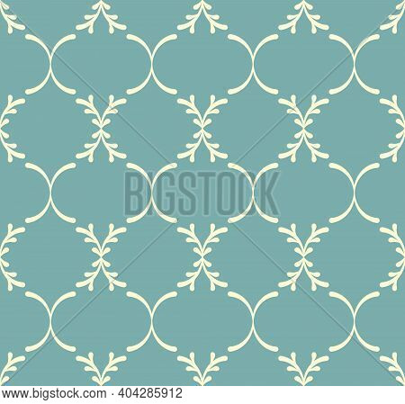 Dusty Green Blue And Beige Floral Seamless Pattern. Abstract Geometric Pattern In Arabic Style. Simp