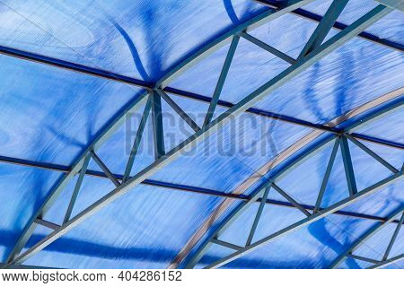 Polycarbonate Canopy With Metal Arc Frame For Durability. Modern Building Solutions. Roof Made Of Ne