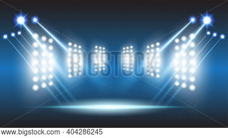 Abstract Background Stadium Stage Hall With Scenic Lights Of Round Futuristic Technology User Interf