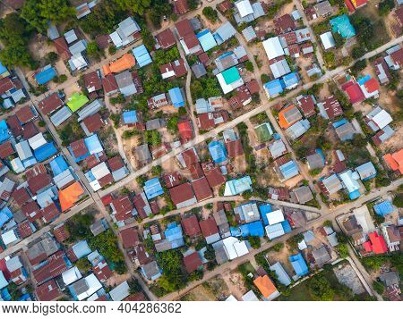 Top View Aerial Photo From Flying Drone.high Angle Old Village In Thailand.