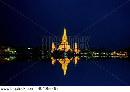Beautiful Unseen Pagoda.wat Arun Temple At Night With Blue Sky In Bangkok  Thailand.buddhist Temple.