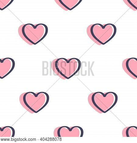Seamless Pattern With Hearts Is On White Background. Illustration For A Cover, A Poster Or A Textile