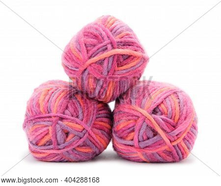 Group Of Hanks Of Colored Yarns Isolated On White Background.