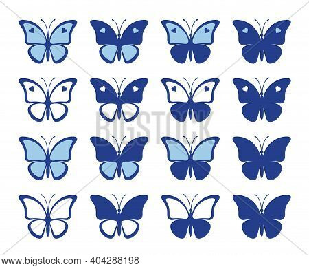 Shapes Of Nice Butterflies With Hearts Isolated On A White Background. Silhouette Of A Butterfly Is
