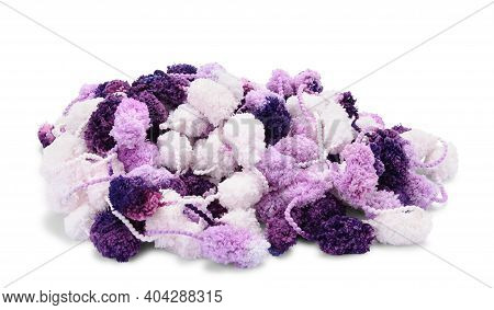Hanks Of White, Violet And Purple Pompon Sisolated On White Background.